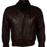 Men Stand Up Collar Brown Leather Jacket
