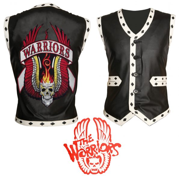 Men The Warriors Movie Black Biker Leather Vest
