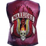 Men The Warriors Movie Maroon Biker Leather Vest