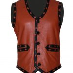 Men The Warriors Movie Orange Biker Leather Vest