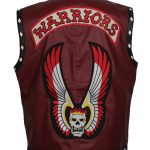 Men The Warriors Movie Red Leather Vest Costume