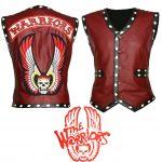 Men The Warriors Movie Tan White Biker Leather Vest