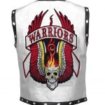 Men The Warriors Movie White Biker Leather Vest