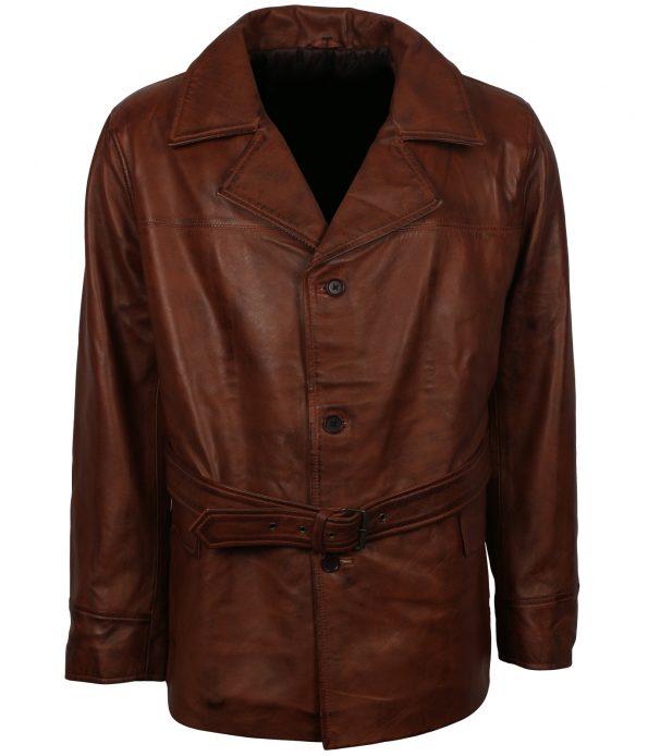 Men Vintage Brown Leather Coat