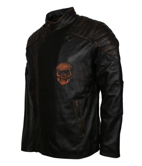 Men Vintage Skull Embossed Distressed Black Motorcycle Leather Jacket copyright