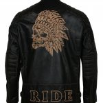 Men Wild Skull Black Motorcyle Leather Biker Jacket