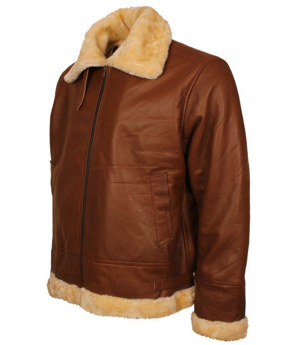 Mens Aviator B3 Bomber Flight Fur Brown Leather Jacket bomber jacket