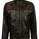Mens Best Rusty Black Distressed Black Real Biker Leather Jacket fashion clothing