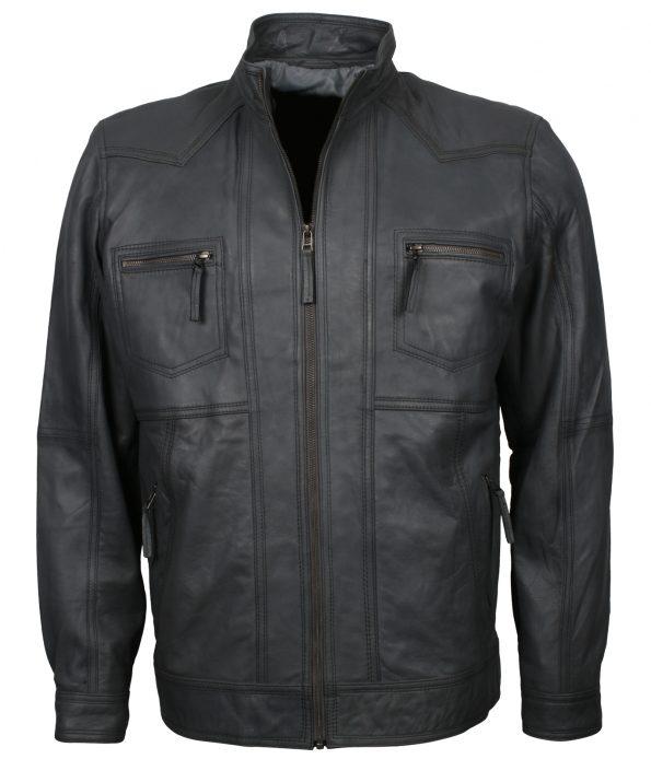 Mens Black Designer Custom Leather Jacket
