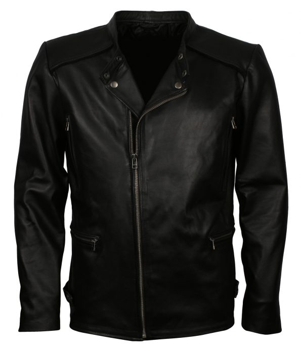 Mens Black Fitted Biker Real Black Leather Jacket outfit