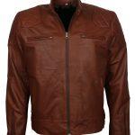 Mens Brown Designer Bomber Quilted Leather Jacket