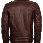 Mens Brown Leather Classic Brando First Motorcycle Jacket costume