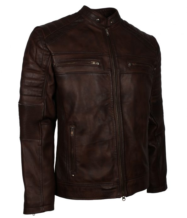 Mens Cafe Racer Quilted Dark Brown Biker Leather Jacket fashion clothing