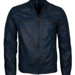 Mens Cafe Racer Quilted Designer Blue Waxed Biker Leather Jacket Boda