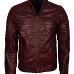 Mens Cafe Racer Style Quilted Designer Brown Biker Leather Jacket motorcycle