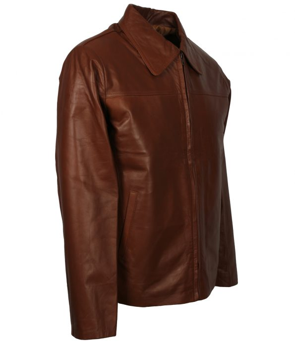 Mens Casual Brown Shirt Collar Real Biker Leather Jacket fashion clothing
