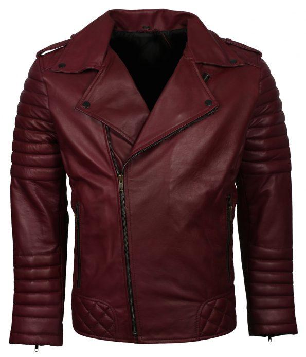 Mens Classic Boda Biker Maroon Leather Jacket