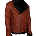 Mens Classic Brando Biker Furr Lined Brown Aviator Leather Jacket