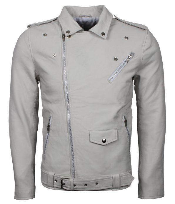 Mens Classic Brando Biker White Leather Jacket