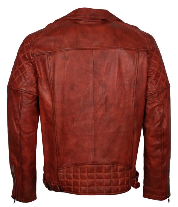 Mens Classic  Diamond Quilted Brando Brown Motorcycle Leather Jacket europe