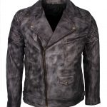 Mens Classic Marlon Brando Designer Vintage Distressed Grey Waxed Motorcycle Leather Jacket Biker wear