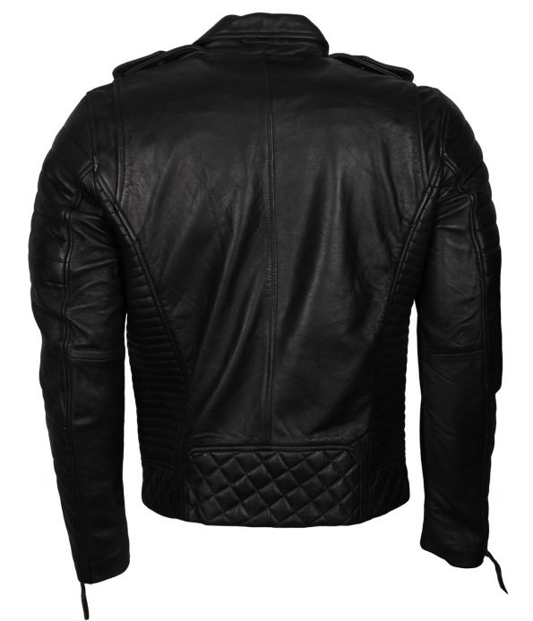Mens Classic Marlon Brando Quilted Boda Biker Double zipper Black Motorcycle Leather Jacket europe
