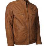 Mens Classic Tan Designer Leather Jacket