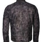 Mens David Beckham Quilted Designer Grey Waxed Biker Leather Jacket distressed