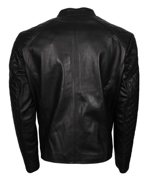 Mens Designer Quilted Black Fashion Biker Leather Jacket diamond