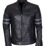 Mens Hybrid Mayhem Grey Stripe Black Biker Leather Jacket