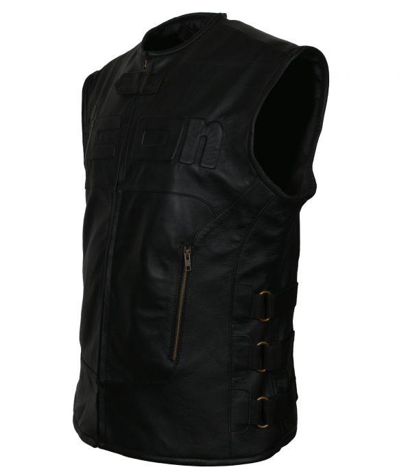 Mens Icon Skull Black  Leather Regulator Motorcycle  Racing Riding D30 Black Club  Leather Vest Costume biker