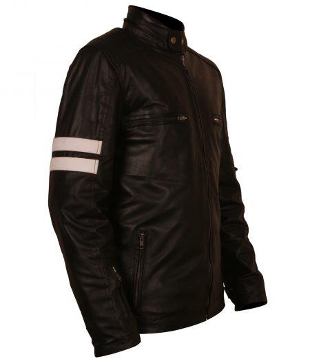 Mens Mayhem Driver San Francisco Striped Designer Motorcycle Black Leather Jacket bikers