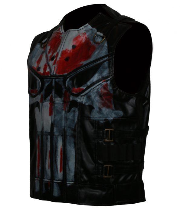 Mens Punisher Season 2 Jon Berthnal Tactical Skull Black Biker Leather Vest Costume 2