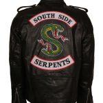 Mens Riverdale South side Serpents Embroidered Black Biker Leather Motorcycle Jacket costume