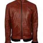 Mens Simple Aviator Brown Fur Lined Designer Winter Leather Jacket fashion clothing