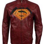 Mens Superman Maroon SuperHero Leather Jacket