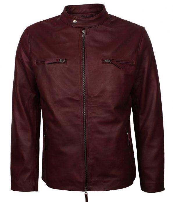 Mens Vin Diesel Maroon Biker Leather Jacket