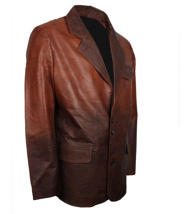 Mens Vintage Designer Double tone Brown Black Winter Leather Coat antique wear