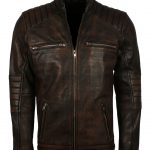 Mens Vintage Designer Rusty Brown Quilted Distressed Biker Leather Jacket fashion clothing