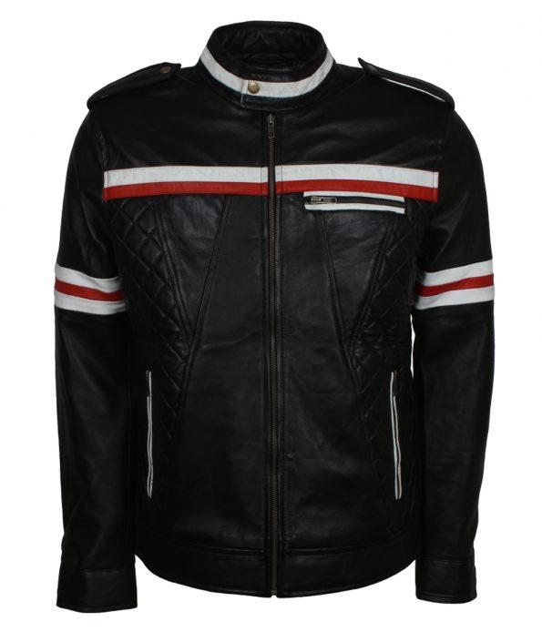 Red Striped Black Motorcyle Leather Jacket