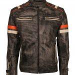 Retro Man Striped Gray Waxed Leather Motorcyle Jacket