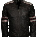 Retro Mens Black Stripe Biker Leather Jacket