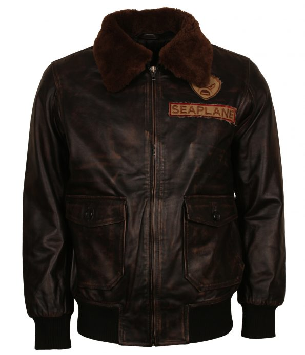 Seaplane Furr Collar Brown Leather Jacket