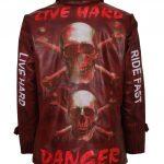 Skull Bones Live Hard Embossed Red Maroon Vintage Red Motorcycle Leather Jacket Biker Costume designer