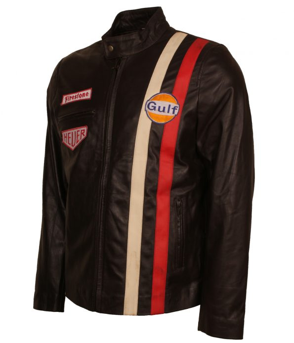 Steve MCQueen Grand Prix Le Man Striped Gulf Brown Leather Jacket biker jackets