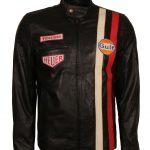 Steve Mcqueen Grand Prix Le Man Gulf Black Leather Jacket costume