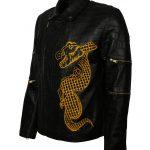 Suicide Square Dragon Black Crocodile Leather Jacket