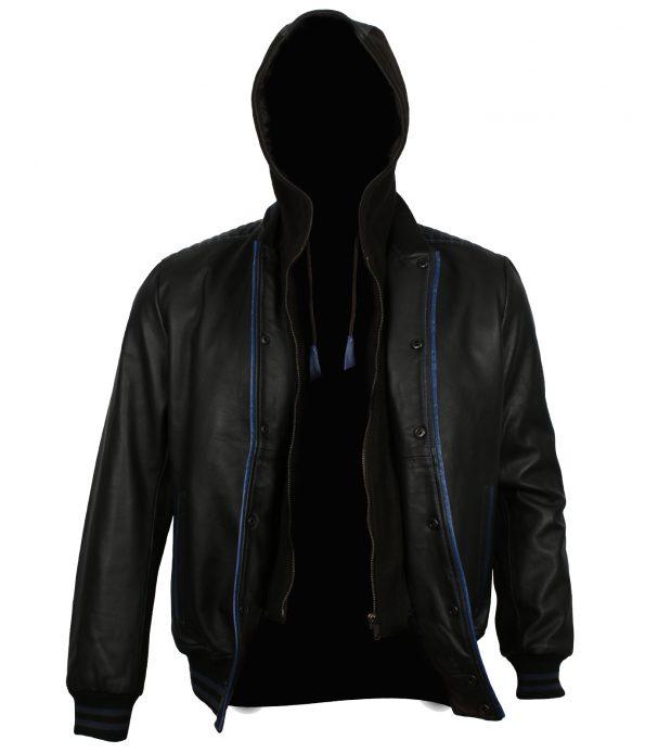 TNA AJ Style Black Hooded Biker Leather Jacket