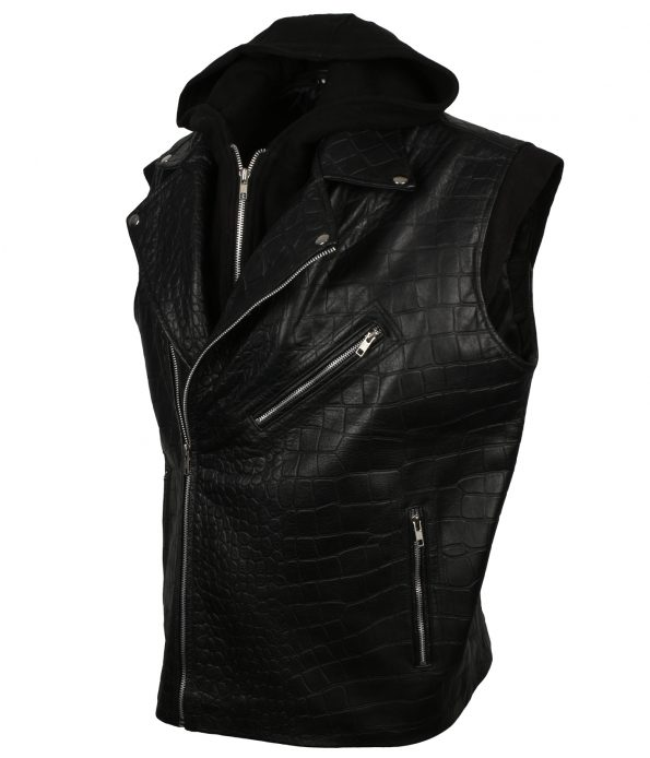 TNA Impact Wrestling AJ Style Crocodile Texture Hooded Black Real Biker Leather Vest Celebrity