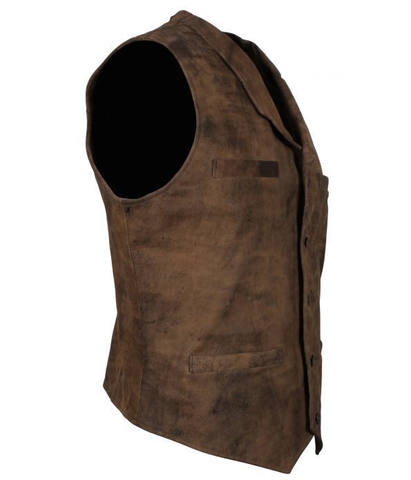 The Dark Knight Rises Bane Distressed Brown Biker Leather Vest cosplay costume